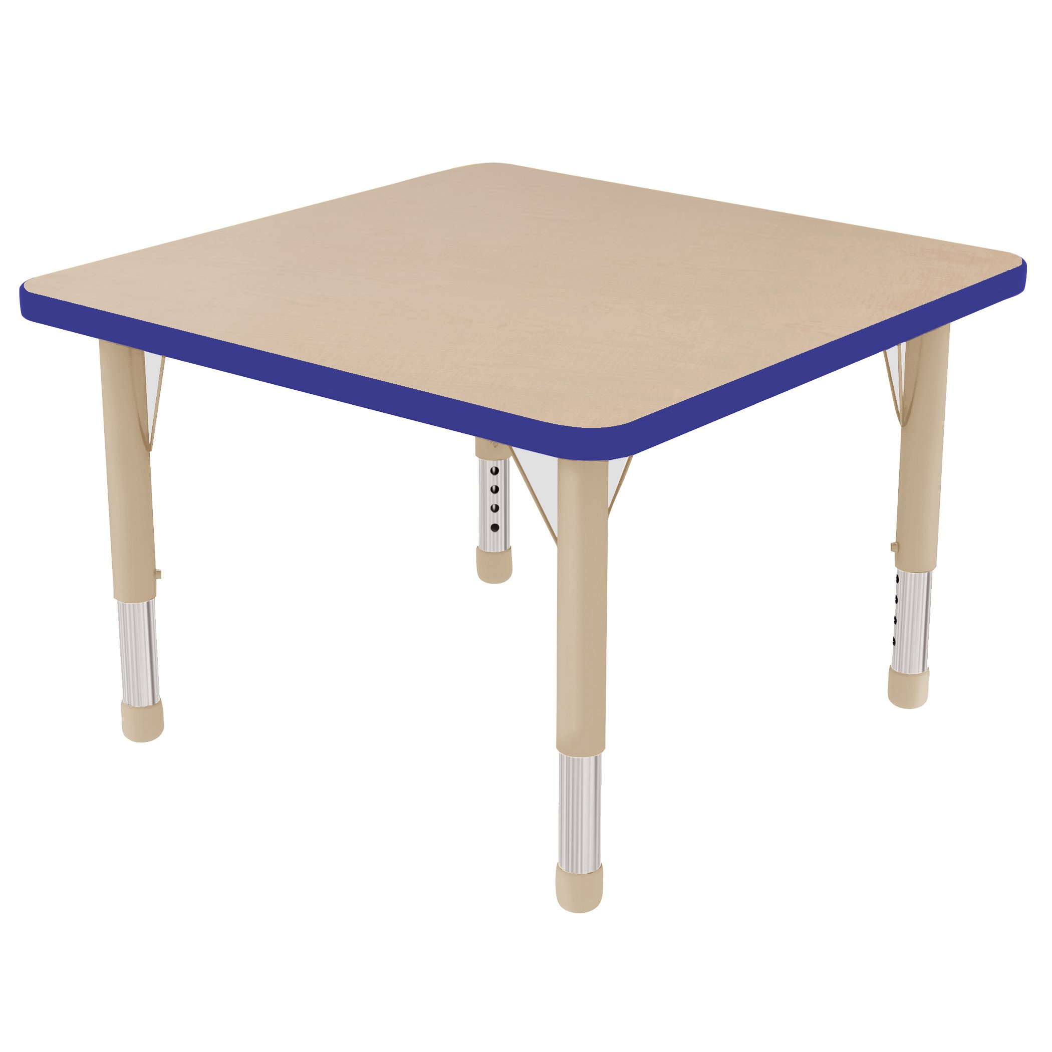 ECR4Kids 30'' Square Activity School Table, Chunky Legs, Adjustable Height 15-24 inch (Maple/Navy)