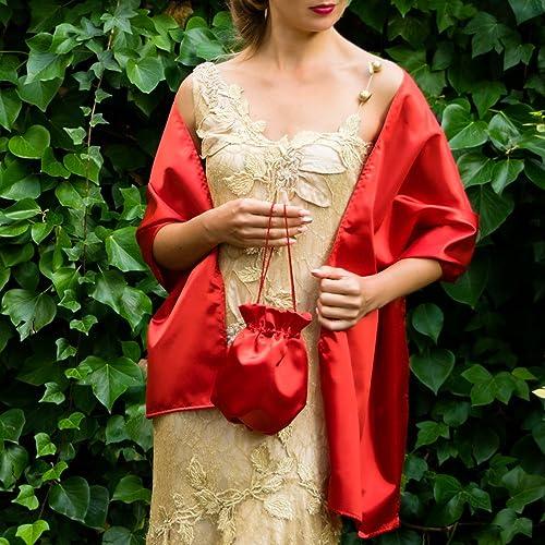 Bolso saten novia boda rojo bag regalo boda fiesta flamenco