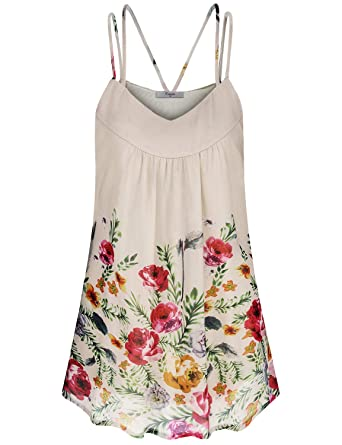 482c8576bebd8 Cestyle Floral Tops for Women, Women's Pleated Chiffon Layered Camisole  Tunic to Wear with Legging