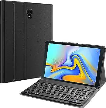 Fintie Étui avec clavier pour Samsung Galaxy Tab A 10.5 2018 SM-T590/T595/T597, coque fine et légère avec clavier Bluetooth sans fil amovible, noir
