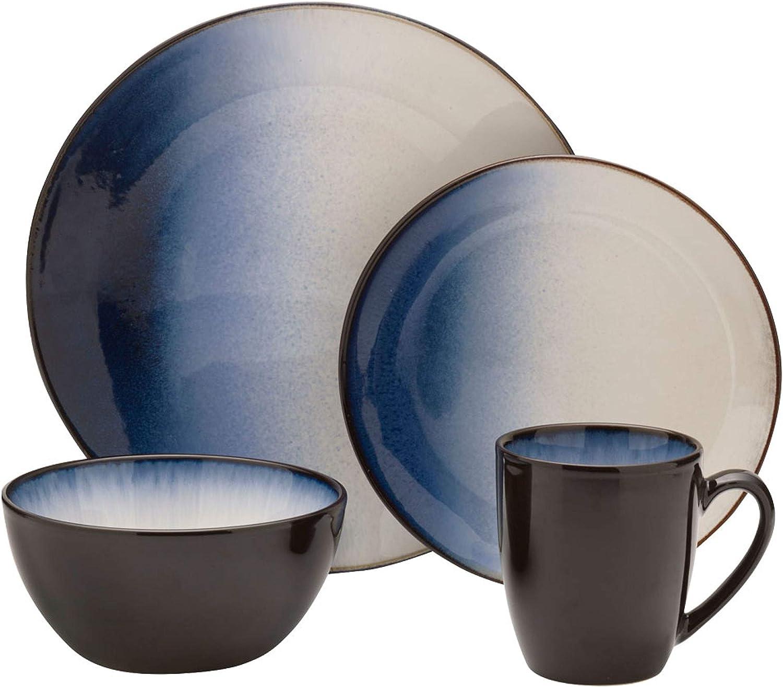 Gourmet Basics by Mikasa Asher Blue 16-Piece Dinnerware Set,5244110