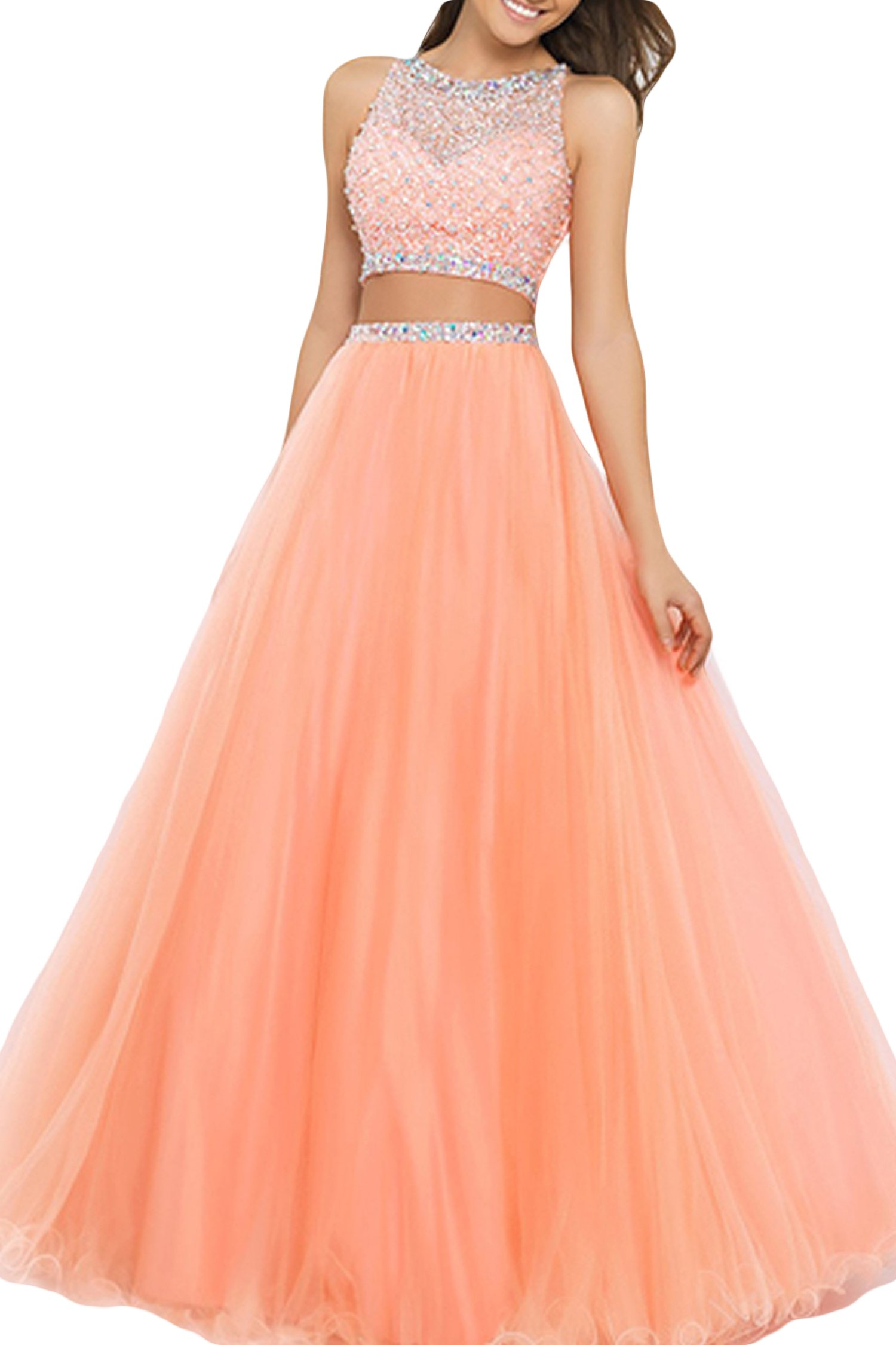 SeasonMall Women's Prom Dress Two Pieces Bateau Beaded Bodice Tulle Dresses Size 6 US Orange