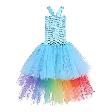 30877f3206f4a IEFIEL Déguisement Enfant Fille Licorne Robe Soirée Cérémonie Serre-tête  Unicorn Tutu Robe Réglable Costume