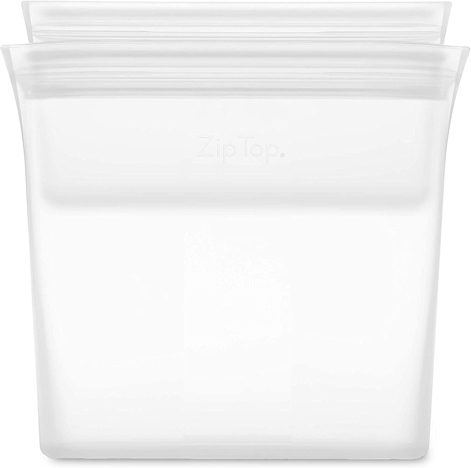 Zip Top Reusable 100% Silicone Food Storage Bags and Containers, Made in the USA - 2 Bag Set - Sandwich & Snack Bags - Frost