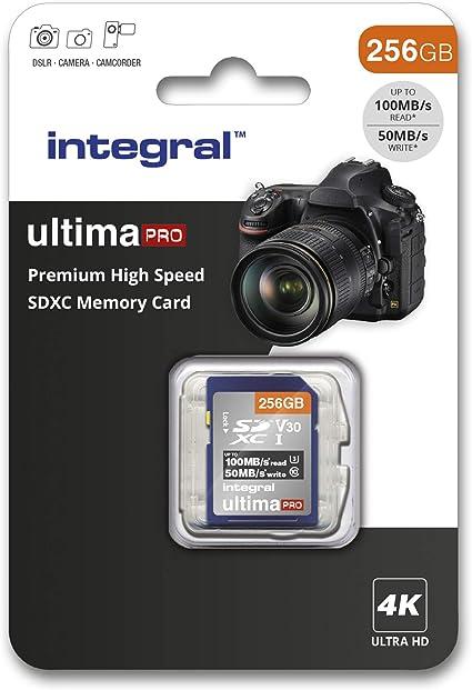 Integral - Tarjeta SD de 256 GB (4 K, Alta Velocidad, SDXC, hasta 100 MB/s, V30, UHS-I, U3) 256 GB. 256 GB: Amazon.es: Informática