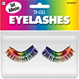 Amscan 397281 Non Toxic Self Adhesive Tinsel False Eyelashes, Rainbow