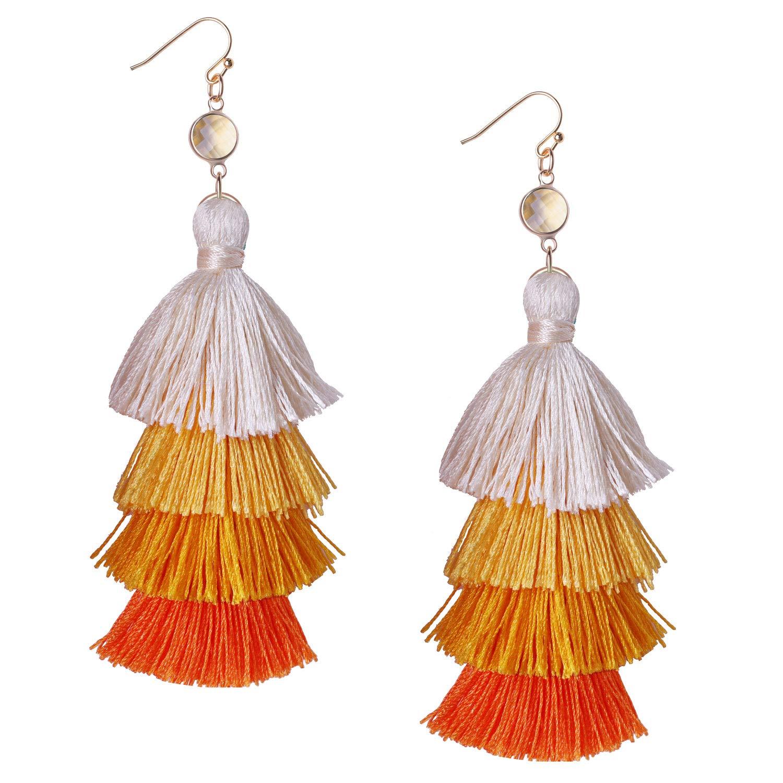 KELITCH Dangle Earrings Handmade Long Tassel Bohemia Statement Multi-Layers Drop Earrings (Orange D)