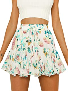 52c3316682 Season 4 Women's Dot Floral Print Ruffle Mini Skirt High Waist A line Skirts  with Tassels