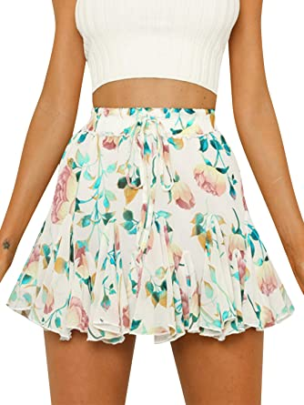 ba38b76636 Season 4 Women's Floral Print Ruffle Mini Skirt A line Chiffon High Waist  Skirts White,