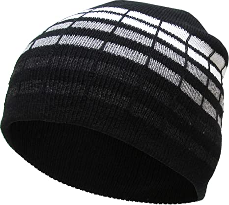 afcfa4cca7187 Amazon.com  KBW-02 DGY Dotted Stripes Short Beanie Skull Cap Solid Color  Men Women Winter Ski Hat  Sports   Outdoors