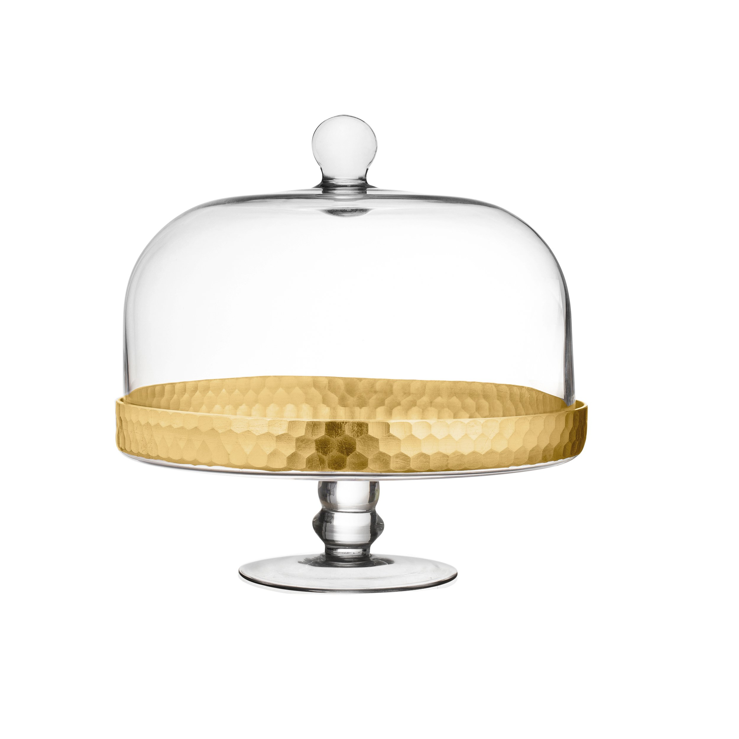 Fitz and Floyd 212705-PDCP Daphne Cake Plate with Dome Gold