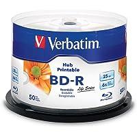 Verbatim 98191 BD-R Serie Vida Inkjet, 25GB, 6X, Hub para imprimible, 50 unidades