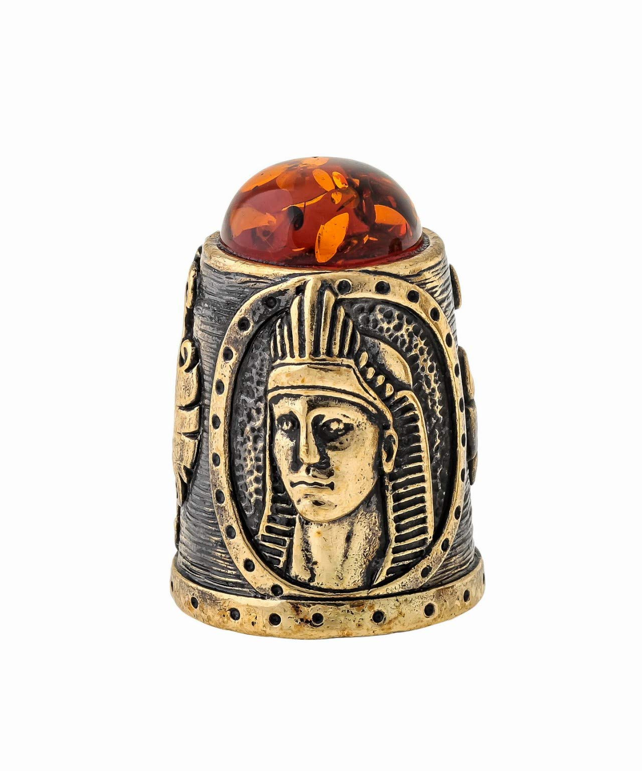 Amber and Brass Collectible Thimble (Egyptian) Decorative Souvenir Thimbles from Kaliningrad, Russia. Packed in a Beautiful Siberian Birch Bark Gift Box(Random Selection) by Brass and Amber Art