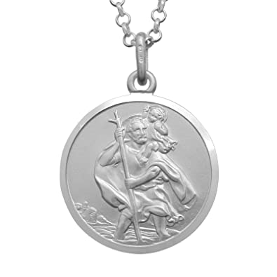 925 Sterling Silver 20MM Saint St Christopher Pendant /& Chain Necklace