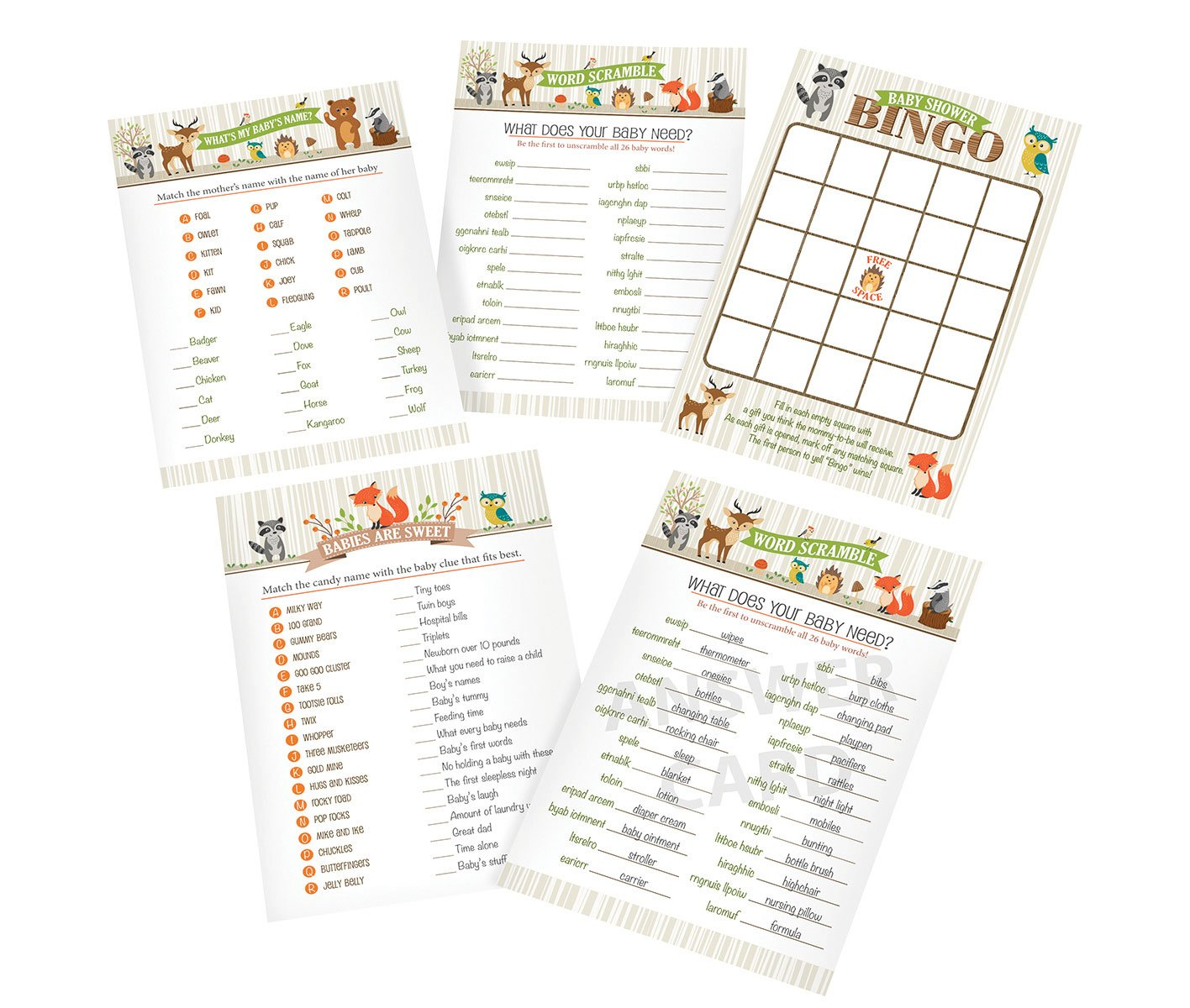 Lillian Rose 24BS230 SG Woodland Baby Shower Game Cards, Neutral, 5x 7 5x 7