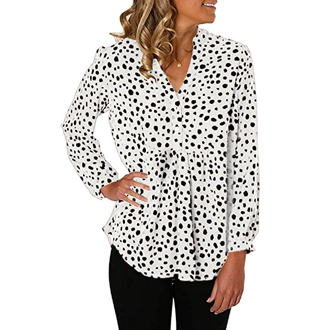 Camisa de Leopardo para Mujer Camiseta Casual de Manga Larga ...
