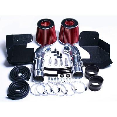 DUAL AIR INTAKE KIT SYSTEM FIT 2009-2020 NISSAN 370Z / 370Z NISMO 3.7L / 2008-2013 INFINITI G37 3.7L V6 ENGINE (Red): Automotive