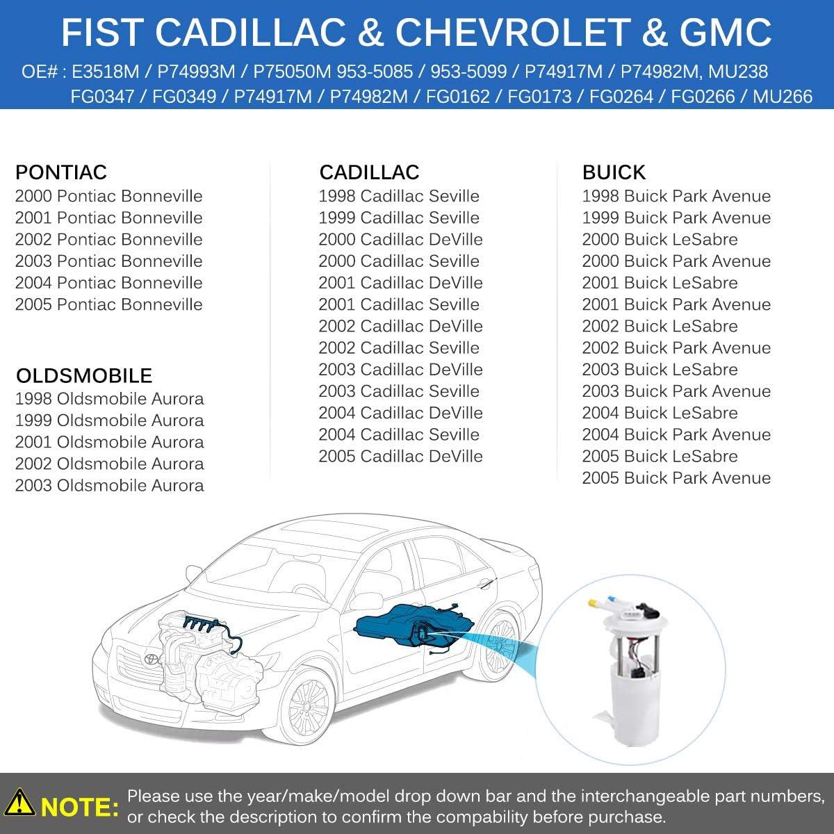 A-Premium Electric Fuel Pump Module Assembly for Buick LeSabre Cadillac DeVille 2000-2005 Park/Avenue Seville Oldsmobile Aurora Pontiac Bonneville V6 V8 PremiumpartsWhosale