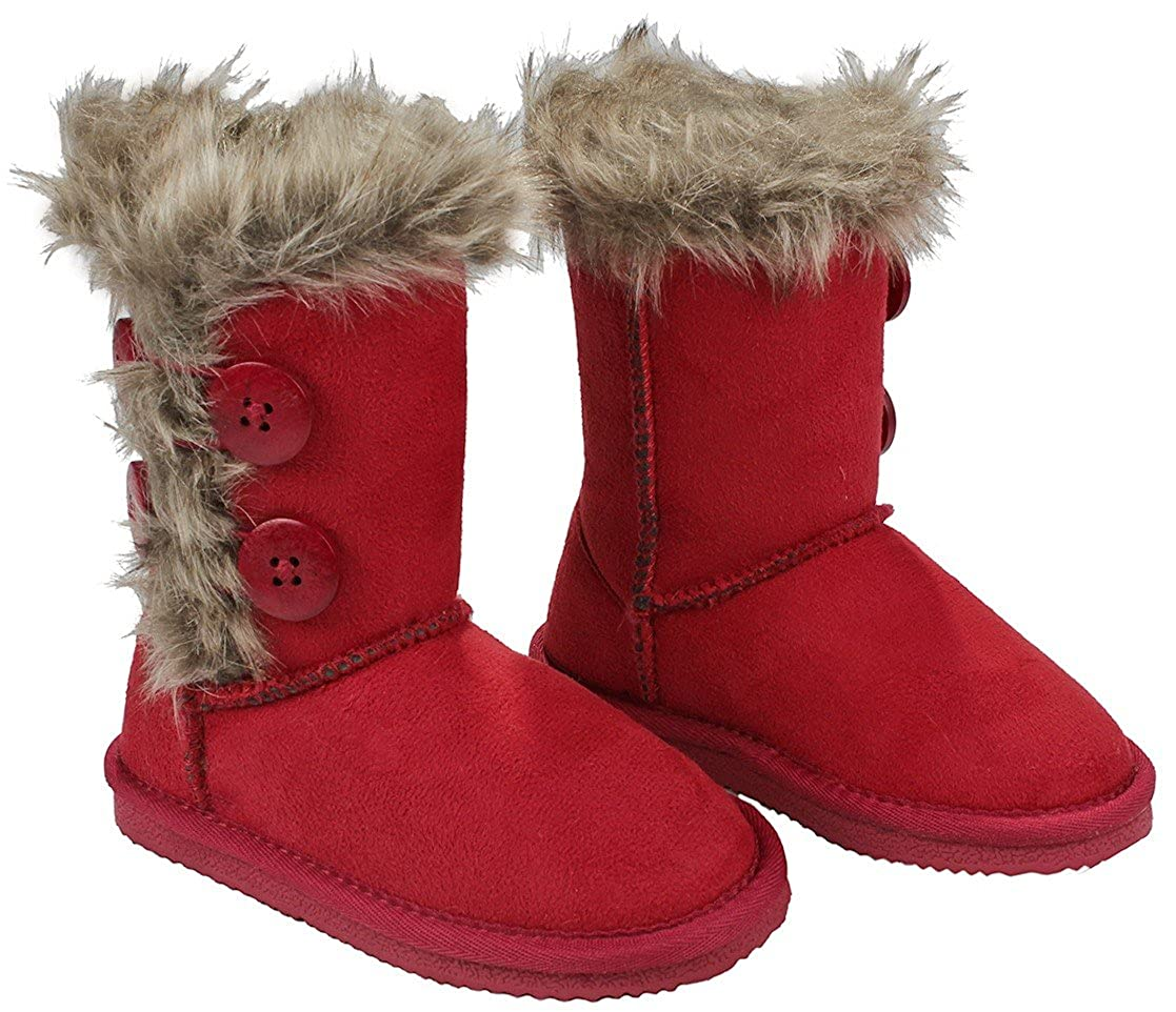 AMY Kids Girls Wooden Button Faux Fur Lined Shearling Mid Calf Winter Boots