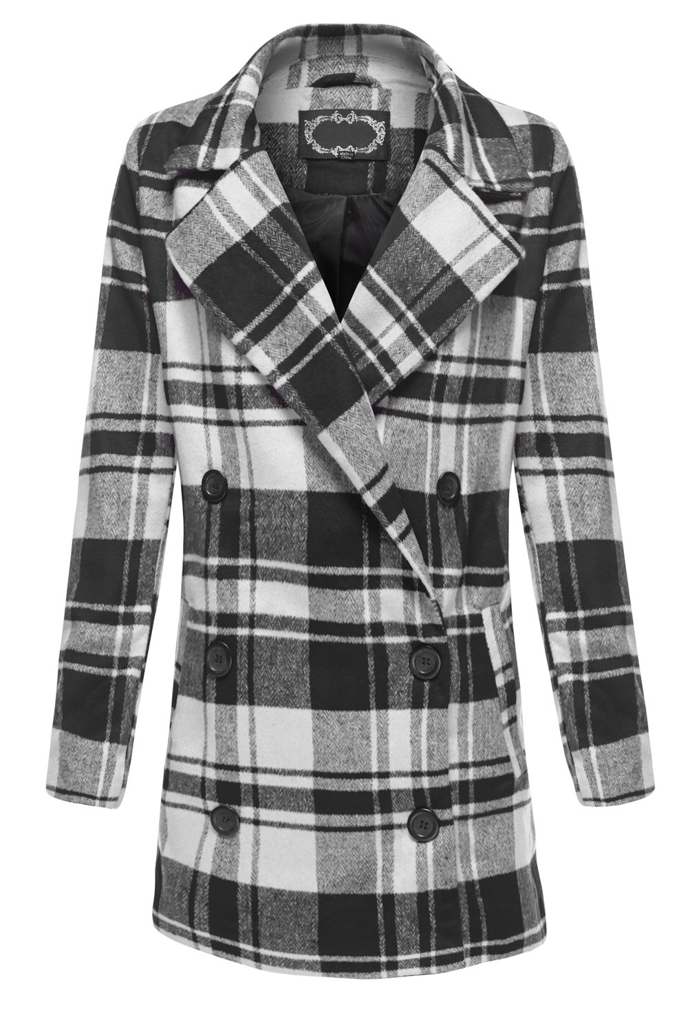 Plaid Oversized Double Breasted Wool look Coat Jackets 018-Black_Offwhite Large