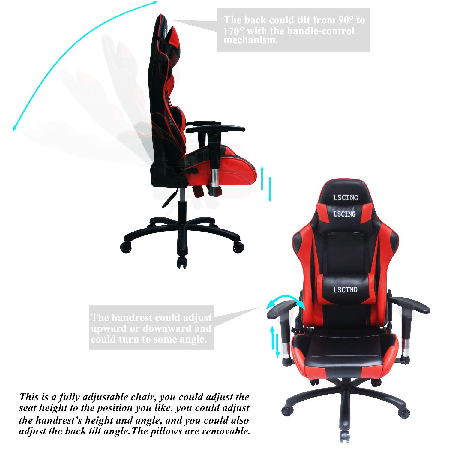 fully adjustable office chair. Amazon.com: LSCING Executive Racing Style High-back Reclining Ergonomic Office Chair For Gaming And Esports: Kitchen \u0026 Dining Fully Adjustable I