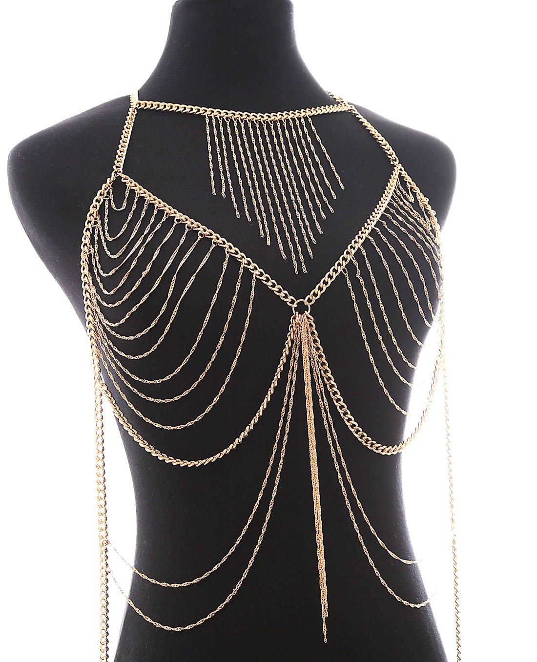 Boderier Retro Bikini Bralette Chain Harness Necklace Crossover Body Chain For Women (Gold)