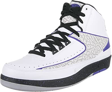 reputable site 5b5e2 d614b Jordan Mens Retro 2 White Black-Dark Concord 385475-153 9.5