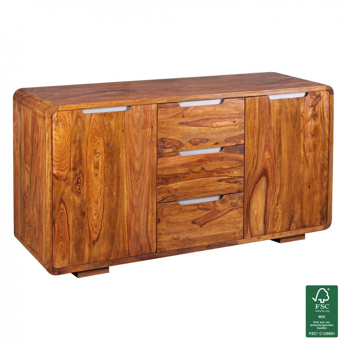 Finebuy Sideboard Massivholz Sheesham Kommode 145 Cm 3 Schubladen 2