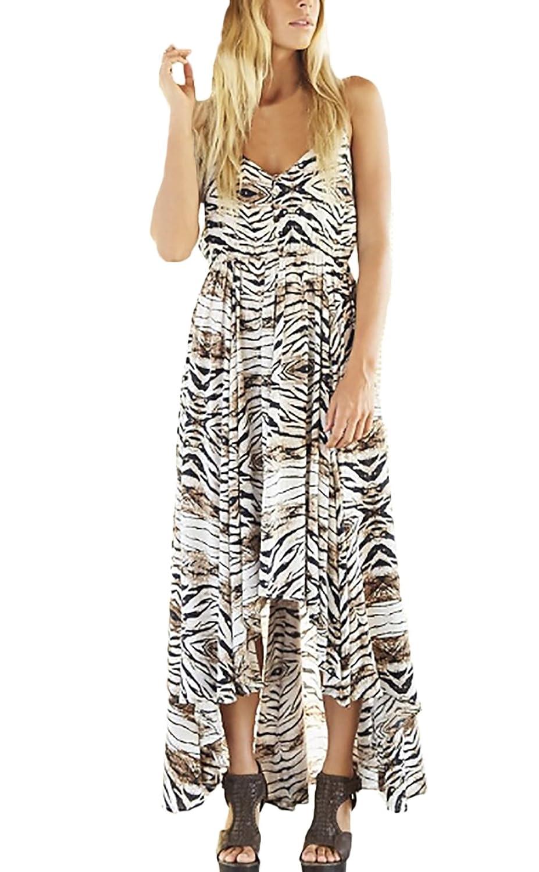 Sommerkleider Damen Lang Festlich Elegant Chiffon Vintage Leopard Ärmellos Rückenfrei Schulterfrei Tailliert Classic A-Linie Strandkleider Hippie Strand Lässig Chiffonkleid Lange Kleider Kleidung