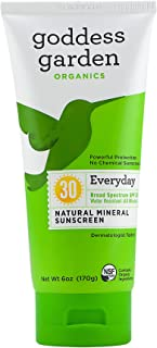 product image for Goddess Garden Organics SPF 30 Everyday Natural Mineral Sunscreen Lotion for Sensitive Skin (6 Ounce Tube) Reef Safe, Water Resistant, Vegan, Leaping Bunny Certified Cruelty-Free, Non-Nano