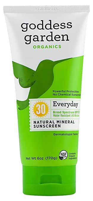 Goddess Garden Organics SPF 30 Everyday Natural Mineral Sunscreen Lotion for Sensitive Skin (6 oz. Tube) Reef Safe, Water Resistant, Vegan, Leaping Bunny Certified Cruelty-Free, Non-Nano