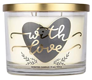 """Aromascape """"with Love"""" 3-Wick Scented Candle (Fresh Lavender, Cotton Blossom and Vanilla), 11-Ounce"""