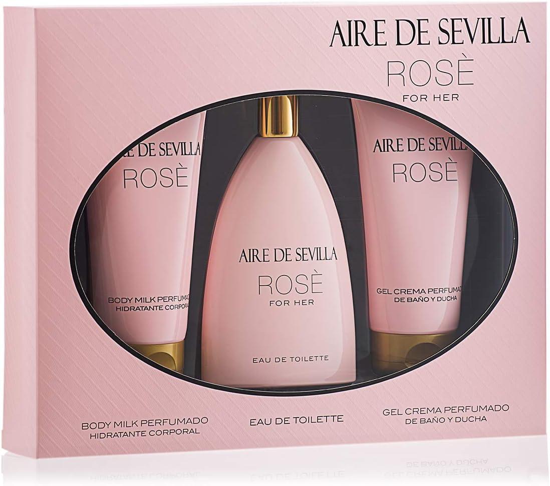 Aire de Sevilla Set de Belleza Edición Rosè - Body Milk / Eau de Toilette / Gel de baño y ducha para mujer