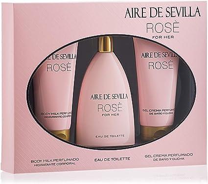 Oferta amazon: Aire de Sevilla Set de Belleza Edición Rosè - Body Milk / Eau de Toilette / Gel de baño y ducha para mujer