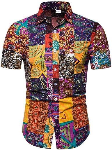 Camisa de manga corta para hombre, estampado floral, bohemio ...
