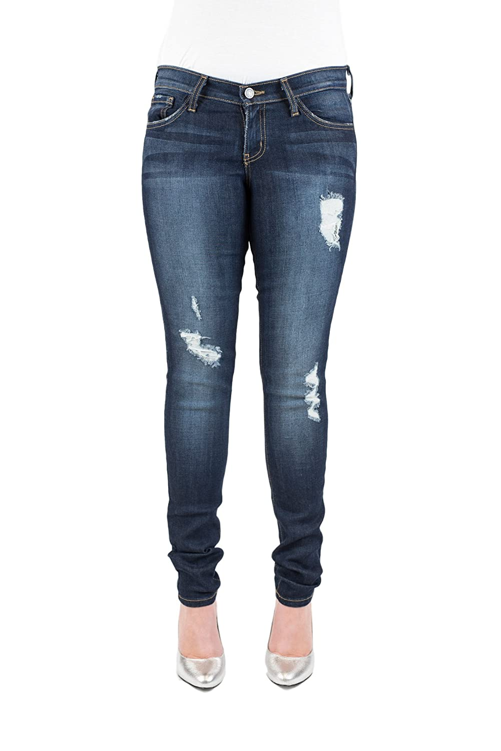 Flying Monkey Jeans Women's Paige Distressed Skinny Nightfall Blue Copper Stitching (27)