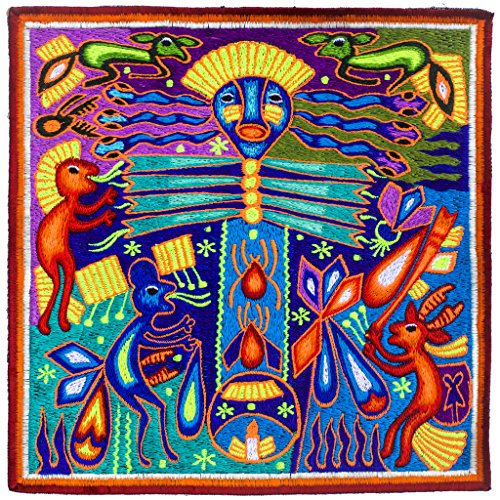 ImZauberwald Huichol Ceremony Embroidery UV patch 20cm 7.8 Inch Mescaline Art