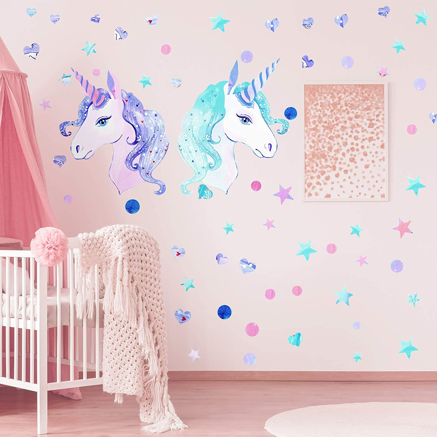 4 Sheets Unicorn Wall Decal Large Unicorn Wall Sticker Star Dot Heart Wall Decal Lovely Unicorn Wall Art Decor Removable DIY Unicorn Wallpaper for Kids Bedroom Nursery Playroom Living Room Party Decor