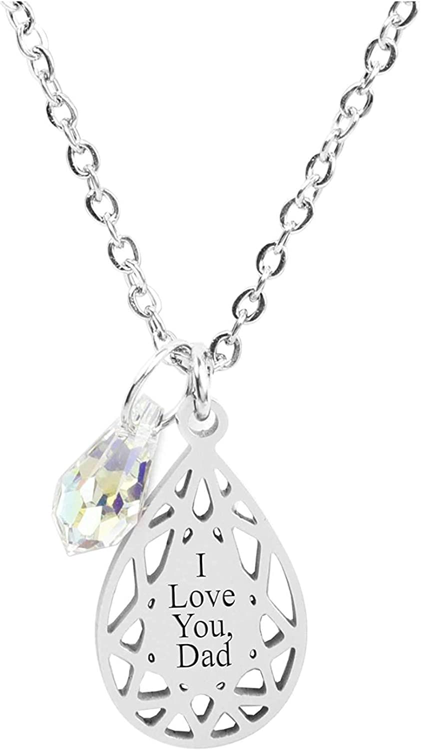 Silver Pink Box Symmetrical Tear Drop Necklace Made with Crytals from Swarovski Dad Love You