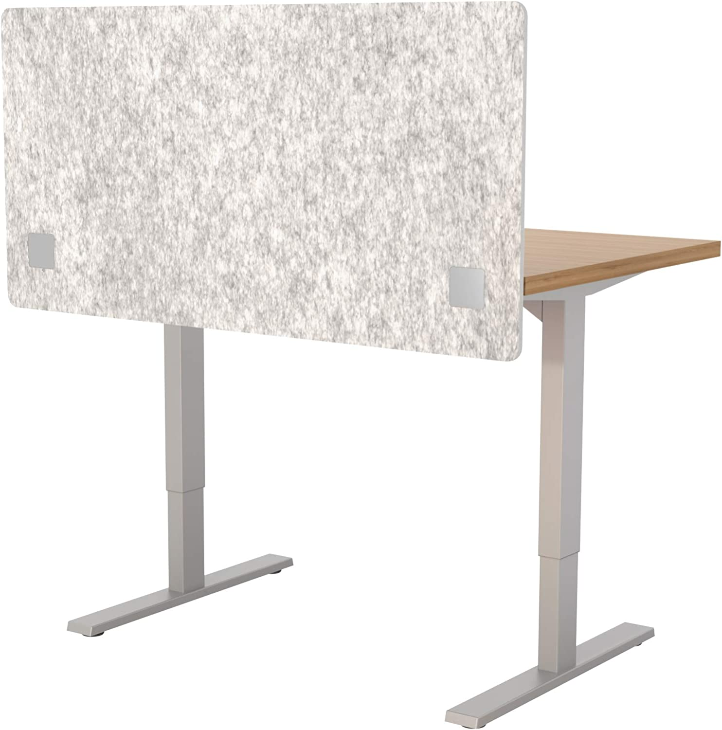 """VaRoom Acoustic Partition, Sound Absorbing Desk Divider – 48"""" W x 24""""H Privacy Desk Mounted Cubicle Panel, Iced Grey"""