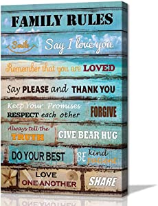 Kitchen Wall Art Family Rules Inspiratinal Poster Vintage Artwork Canvas Prints for Living Room Bathroom Bedroom Decoration Rustic Framed Wall Art for Home Décor Gift for Girls Woman 16x24inch