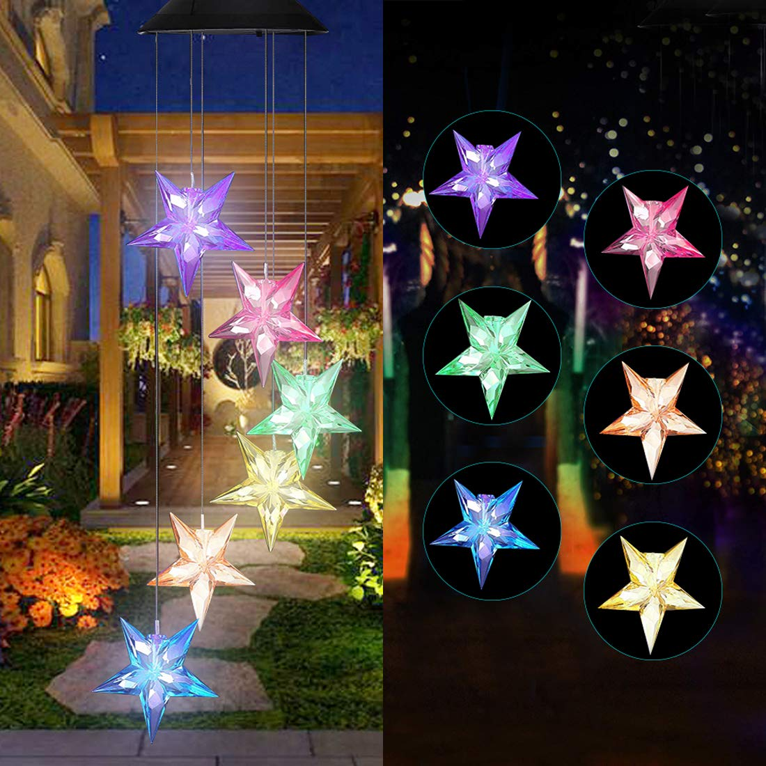 Vinkki Wind Chime Color Changing Solar Light Blue Star LED Wind Chime Wind Mobile Portable Waterproof Outdoor Decorative Romantic Wind Bell Light for Patio Yard Garden Home by Vinkki