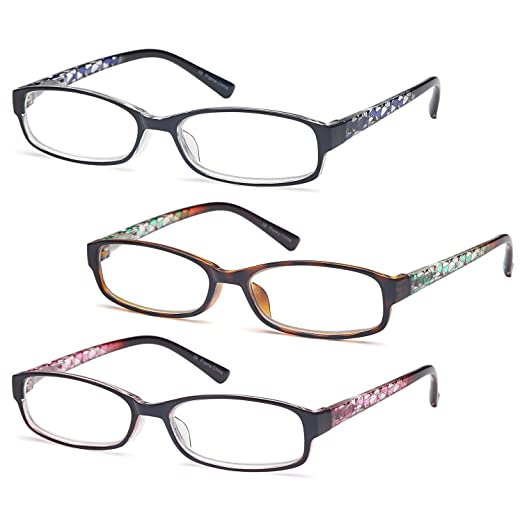 b2750b76eddc Gamma Ray Women's Reading Glasses 3 Print Ladies Fashion Readers for Women  - 1.25