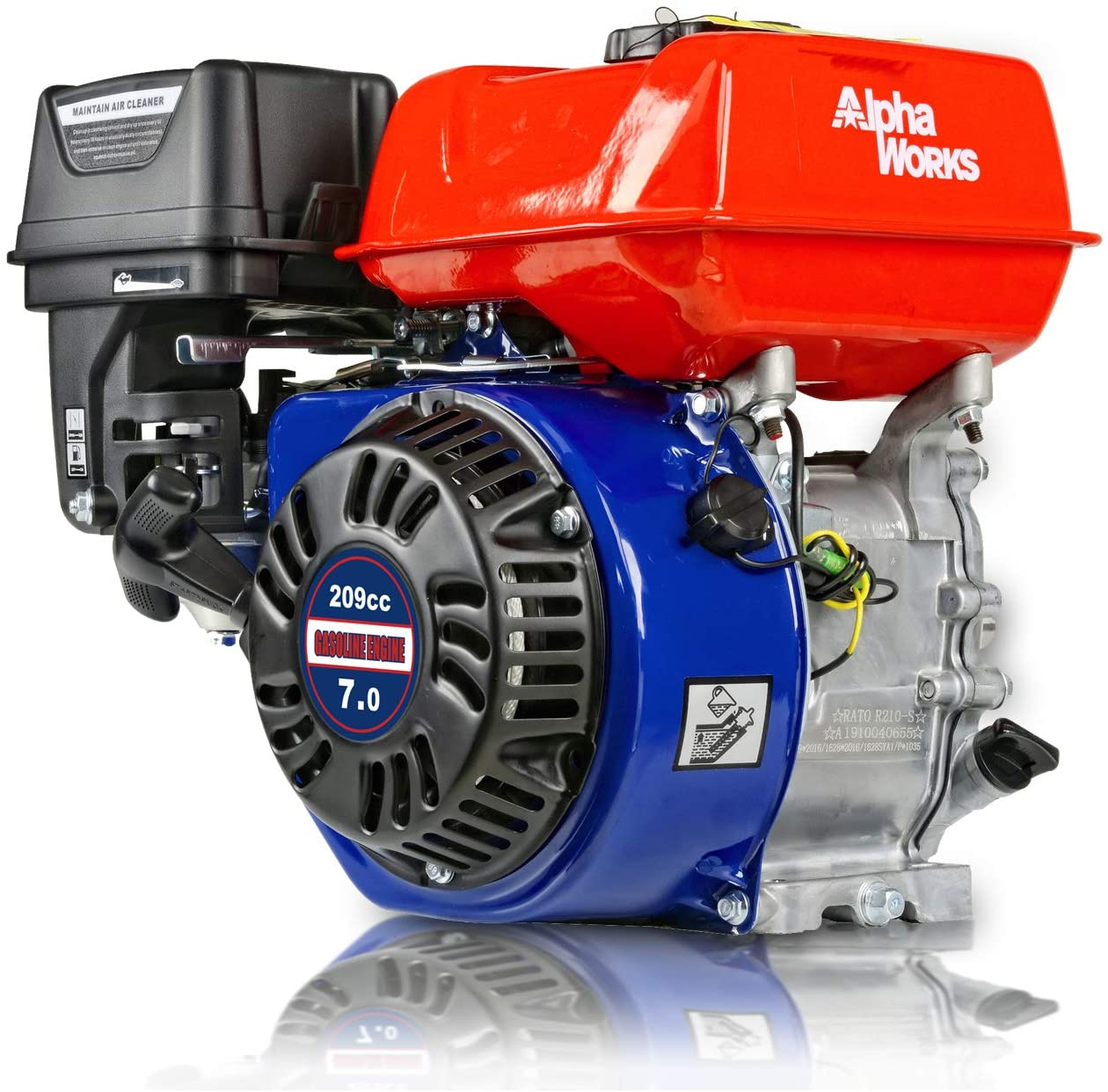 "AlphaWorks Gas Engine 7HP 209cc Motor Horizontal Cylinder 4 Stroke OHV Recoil Start 3600RPM 8.85Ft-Lbs/12Nm Torque 3/4""x2.43"" Shaft 3/16"" Keyway 5/16""-24 UNF End Tapped EPA/CARB Certified CA Ship-able"