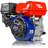 "AlphaWorks Gas Engine 7HP 209cc Motor Horizontal 4 Stroke OHV Recoil Start 3600RPM 8.85Ft-Lbs/12Nm Torque 3/4""x2.43"" Shaft 3/"