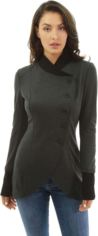 PattyBoutik Women Asymmetrical Hem Button Light Jacket