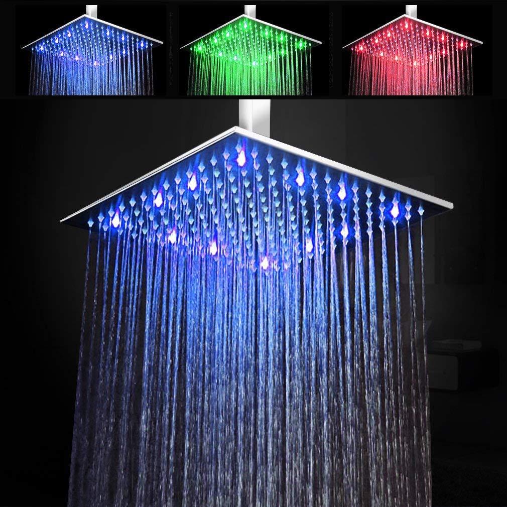 Plafonnier Steo GmbH de luxe RVB à effet pluie douche 50x50,24 à LED, carré, tête de robinet super plat., Acier inoxydable, Silber, 30 x 30 cm 24 à LED carré tête de robinet super plat.