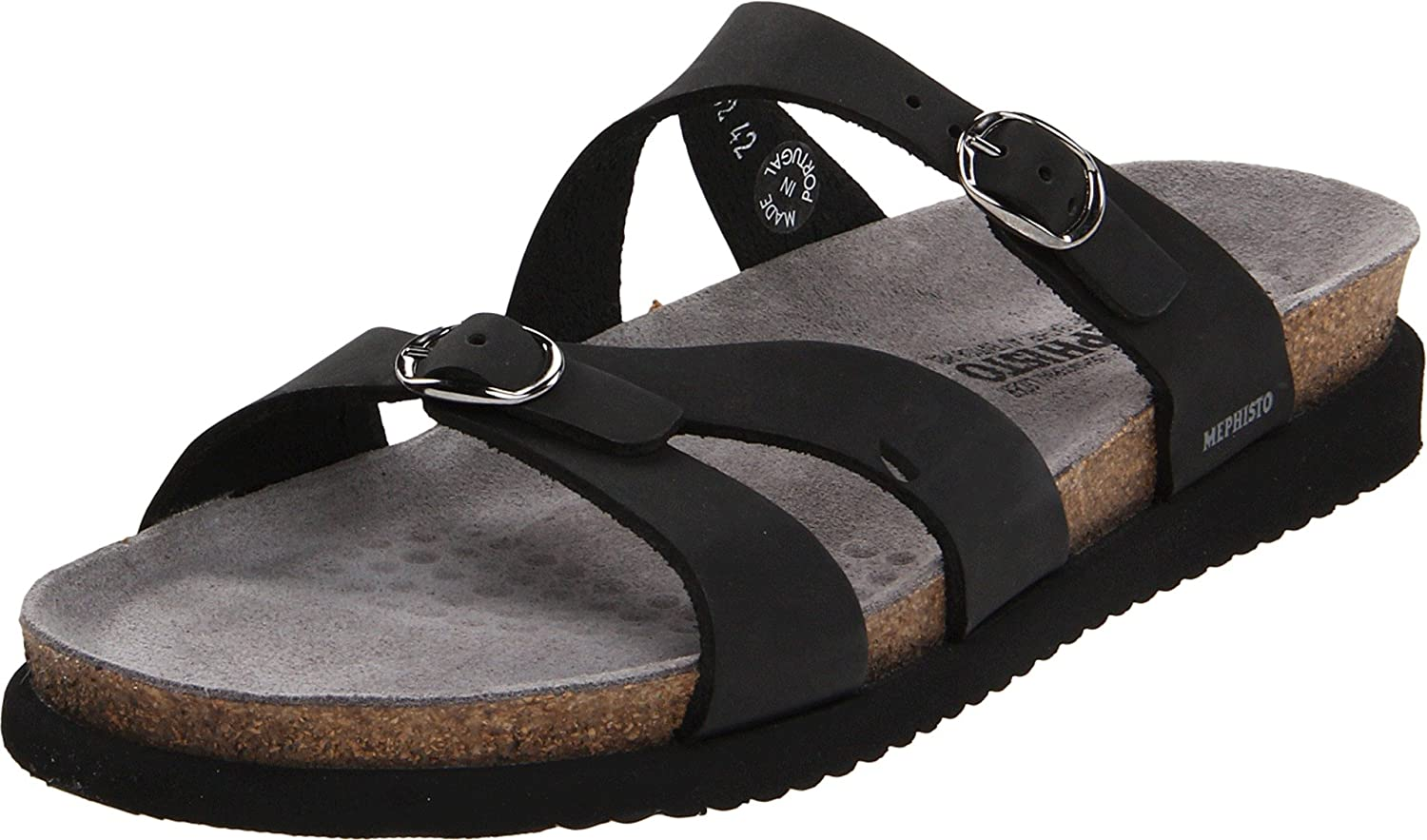 Black Mephisto Women's Hannel Sandals