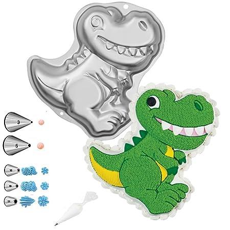 Wilton Dinosaur Shaped Cake Pan Bundle of 10 Items Dinosaur Cake Pan, Decorating Tips and Decorating Bags