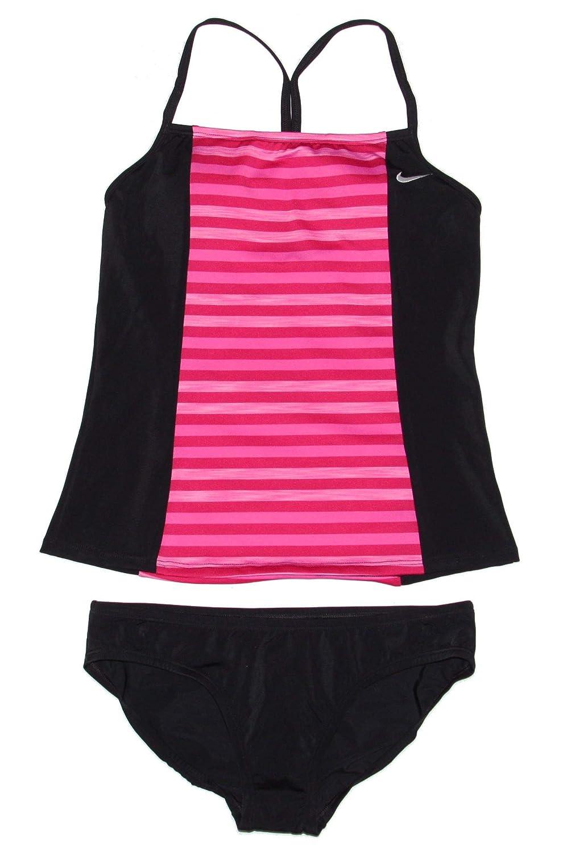 Pink Heather Magenta Black Nike Women's Tankini Athletic TwoPiece Swimsuit